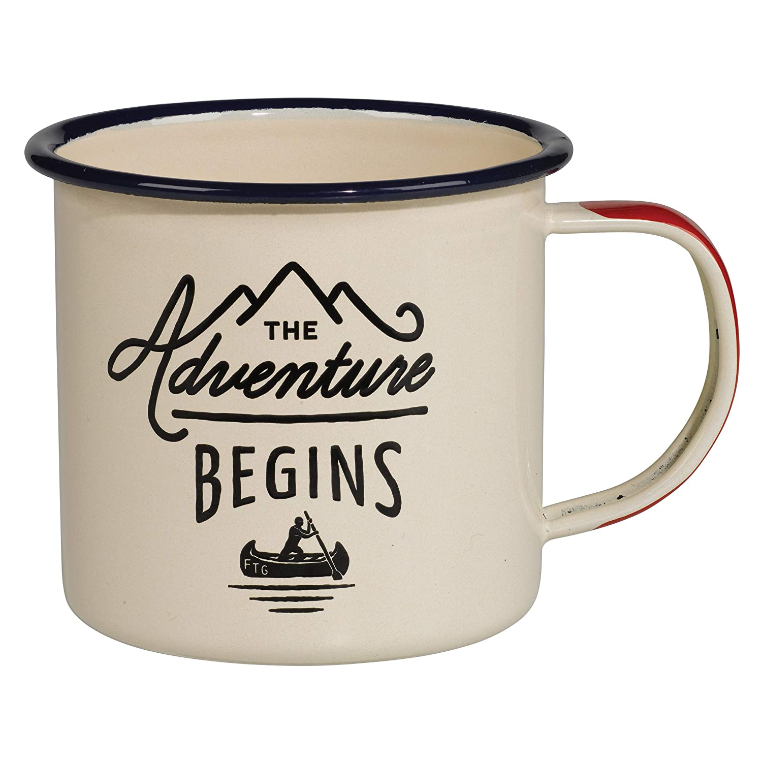Gentlemen's Hardware Adventure Enamel Camping Coffee Mug, Cream (12 oz) Wild and Wolf Inc. AGEN025