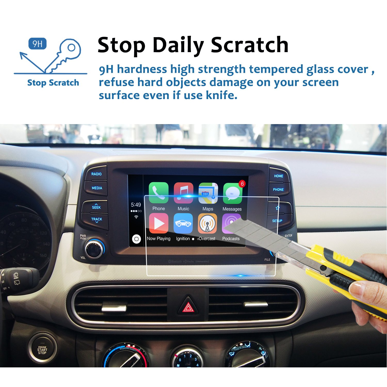 9H LFOTPP Car Navigation Screen Protector for 2017-2018 Elantra GT Blue Link 7 Inch, Tempered Glass Infotainment Center Touch Screen Protector Anti Scratch High Clarity LiFan 2017-2018 Hyundai Elantra GT 7 inch