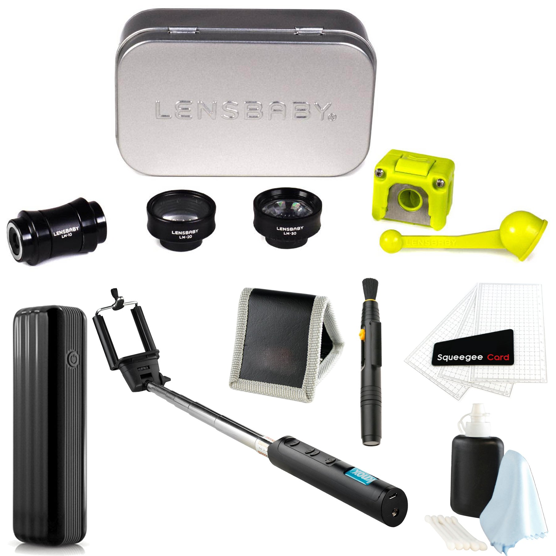 Lensbaby Deluxe Creative Mobile Lens Kit for iPhone 7 w/ Power Bank & Selfie Stick & Accessory Bundle