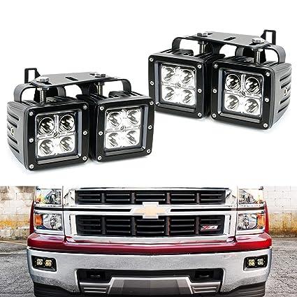 ijdmtoy dual led pod light fog lamp kit for 2014-15 chevy silverado 1500,
