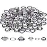 Pangda 200 Sets 1/ 2 and 1/ 4 Inch Grommets Eyelets for Canvas Clothes and Leather DIY Craft Washer Self Backing