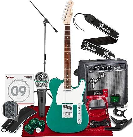 Squier por Fender Affinity Series Telecaster Guitarra eléctrica para principiantes, verde carrera con micrófono y soporte + amplificador, cejilla, afinador, cuerdas, púas y paquete completo de principiantes: Amazon.es: Instrumentos musicales