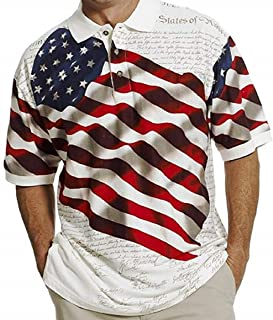 American Summer Cotton Traders Allover Patriotic Men's Polo Shirt