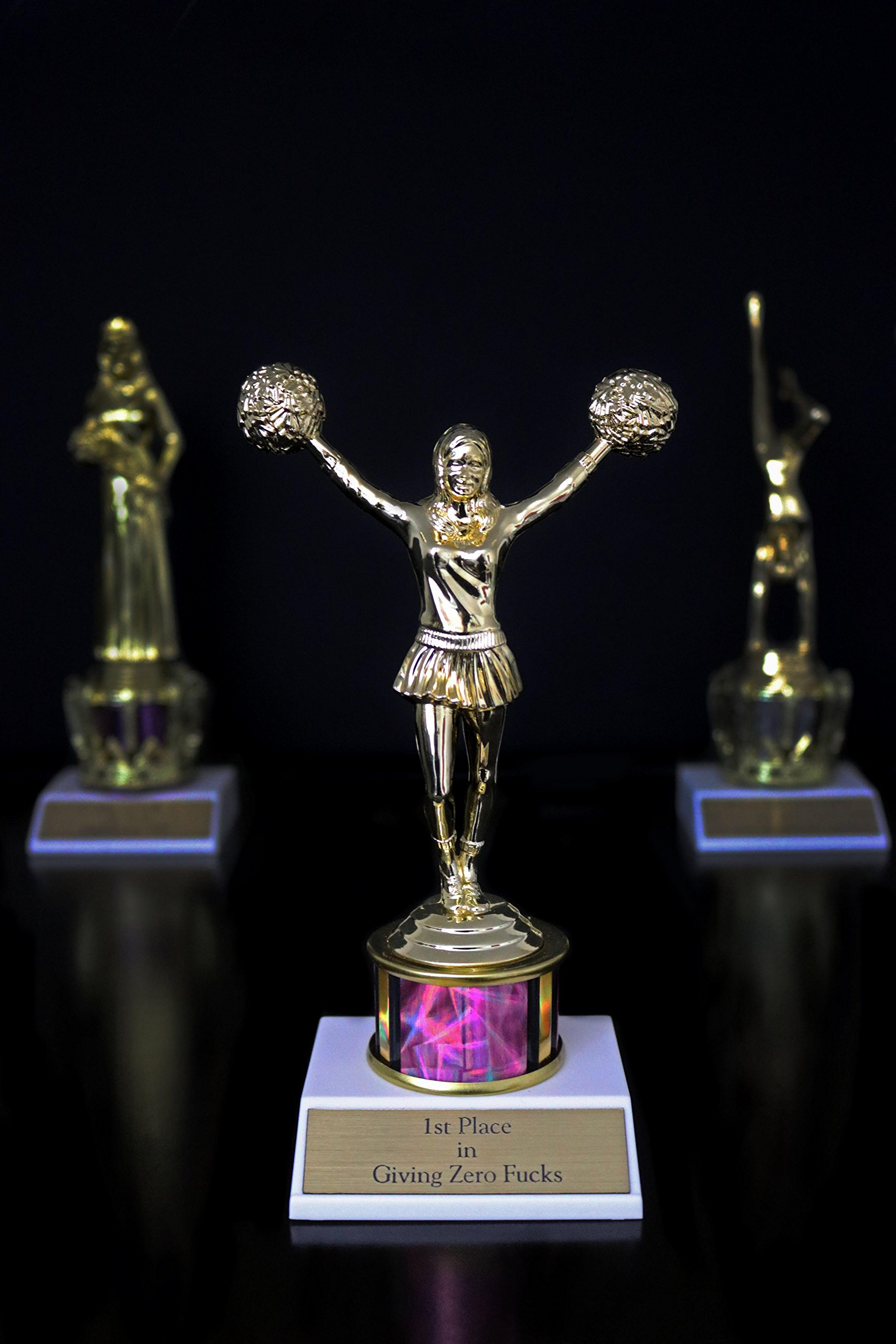 1st Place in Giving Zero Fcks Woman Trophy funny in gold and holographic pink with cheerleader cheerleading statuette by Get Bullish (Image #5)