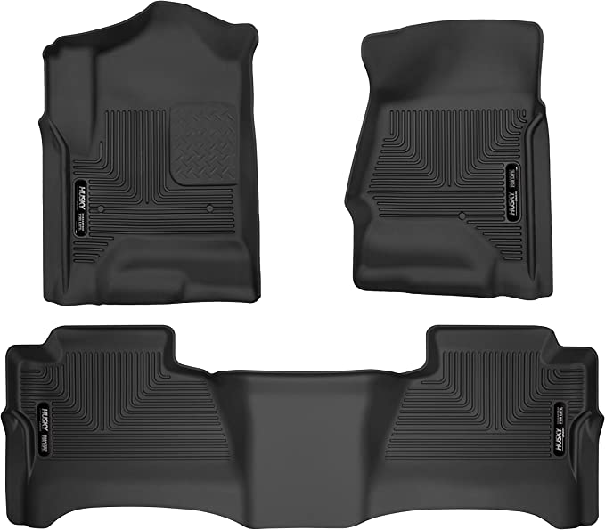Custom Fit Floor Liners YITAMOTOR Floor Mats Compatible with 2014-2018 Silverado//Sierra 1500 1st /& 2nd Row All Weather Protection 2015-2019 2500//3500 HD Double Cab Only