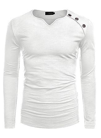 design de qualité nouveaux produits chauds matériaux de haute qualité HEMOON Homme T-Shirt Manches Longues a Boutons Haut Solide