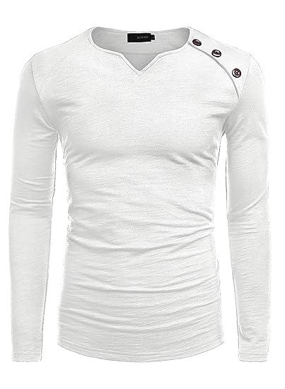 e549c4efc HEMOON Homme T-Shirt Manches Longues a Boutons Haut Solide