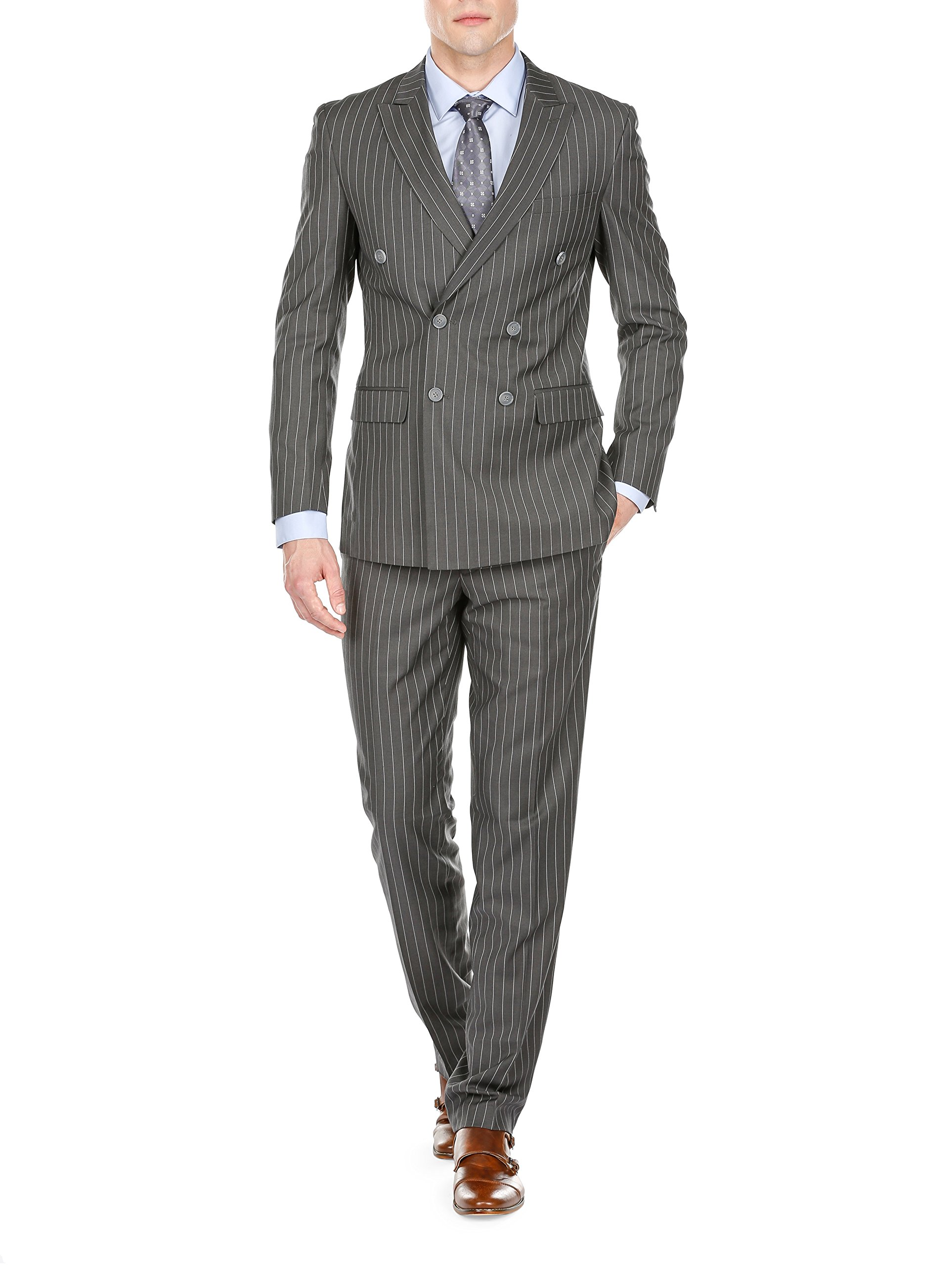 Braveman Men's Slim Fit Bold Stripe Double Breasted Suits, Dark Gray, Size 46R/40W