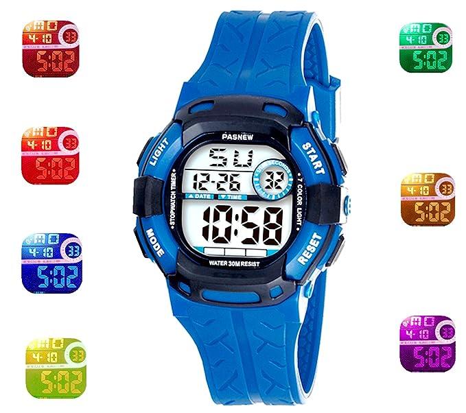 5b7c51873 Kids Sport Outdoor Digital Waterproof 7-Color Flashing Light for Childrens  Boys Girls Kids Gift