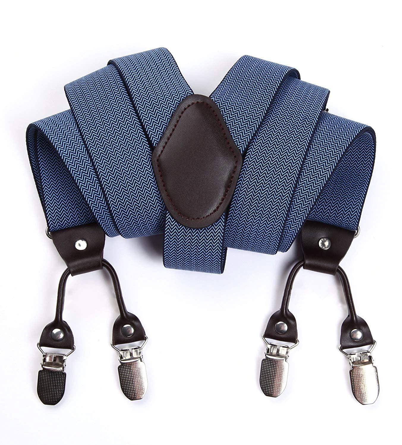 HISDERN Mens Braces Adjustable Solid Color Check Suspender With Strong 4 Metal Clips