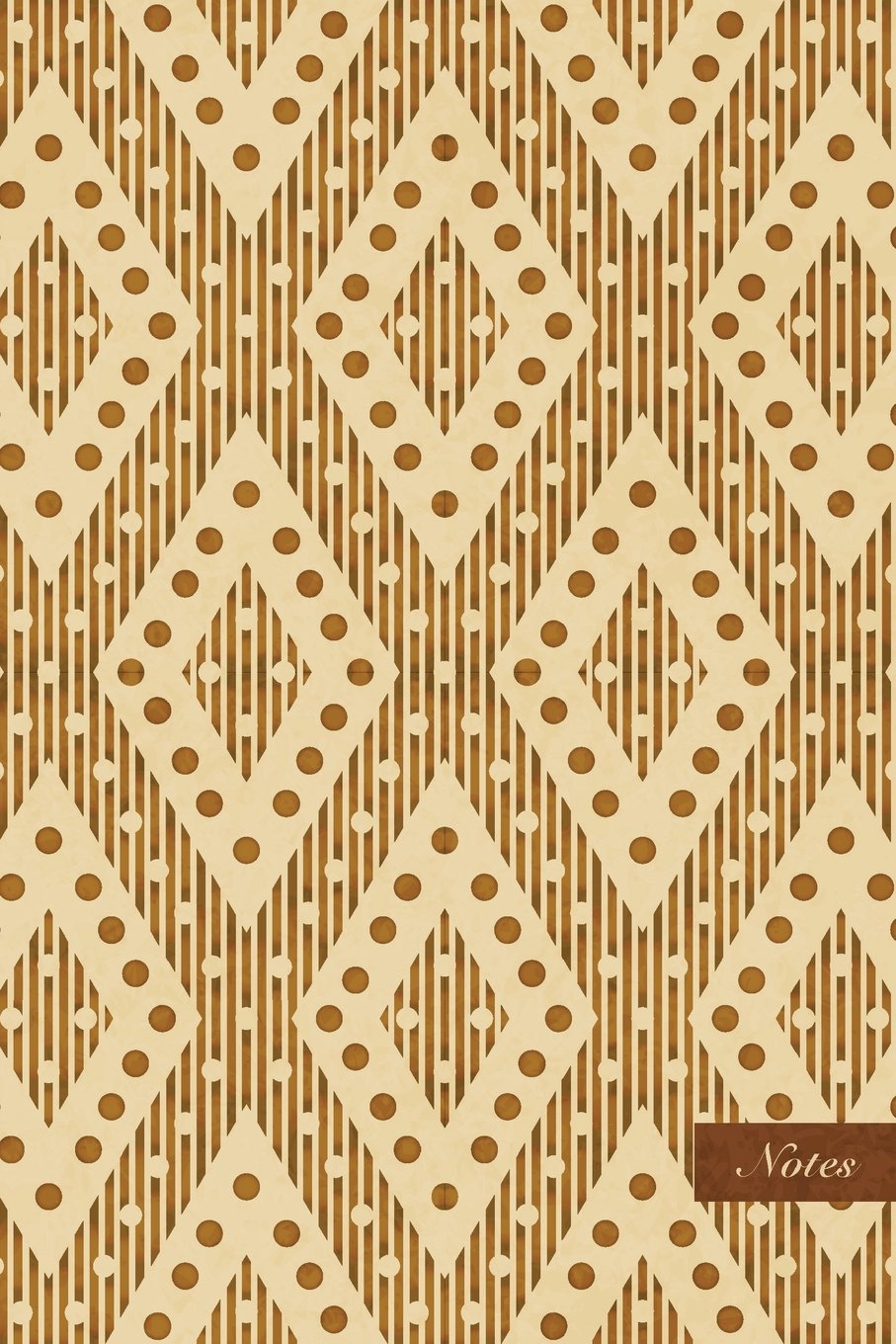 """Download Notes: 6""""x9"""" Unruled Blank Notebook - Check Dot Geometry Cross Frame Line - Retro Brown Worn Out Vintage Seamless Pattern Cover. Matte Softcover And Cream Interior Papers. PDF"""
