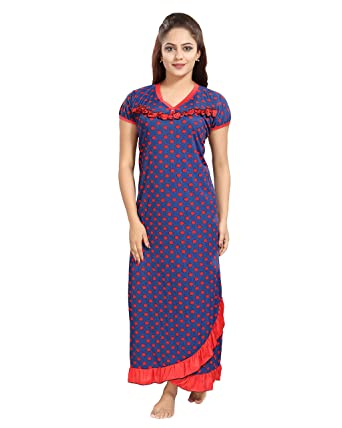 ba45378b06 TUCUTE Women s Girls Denim Print Base with Polka Dot s   Bottom Cross Frill  Nighty Nightdress Night Gown (Red) 1309  Amazon.in  Clothing   Accessories