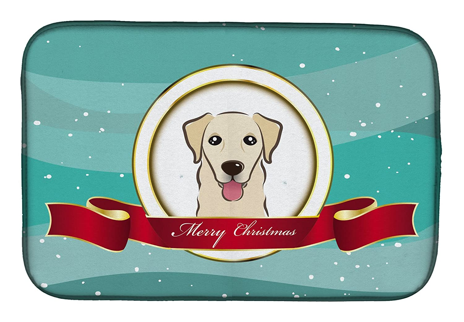 Caroline 's Treasures bb1562ddm Golden Retriever Merry Christmasディッシュ乾燥マット、14 x 21、マルチカラー   B07C9BRC1H