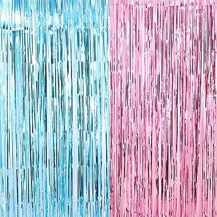 2 Metallic Tinsel Foil Fringe Curtains 3.2 ft x 6.6 ft Baby Shower Gender Reveal