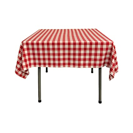 LA Linen Checkered Overlay Tablecloth, 58 By 58 Inch, Red