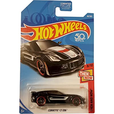 Hot Wheels 2020 Then And Now Corvette C7 Z06 48/365, Black: Toys & Games