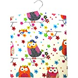 Rainbow Owls Large Laundry Clothes Peg Bag with Wooden Hanger