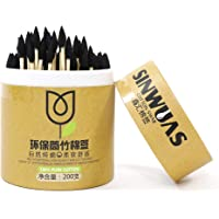 SINWUAS 200pcs Disposable Bamboo Cotton Swab, Round Heads + Pointed Heads Bamboo Sticks Soft Cotton Buds Ear Swabs…