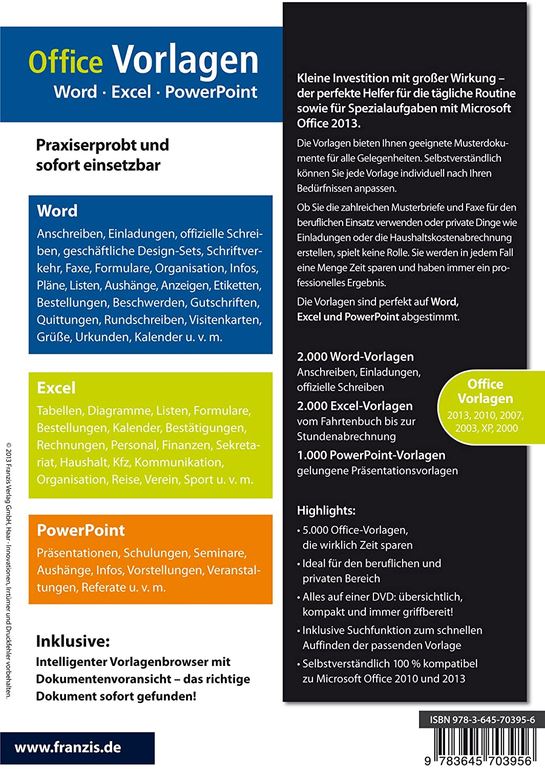 Office Vorlagen: Word - Excel - PowerPoint - Das Vorlagenpaket, DVD ...