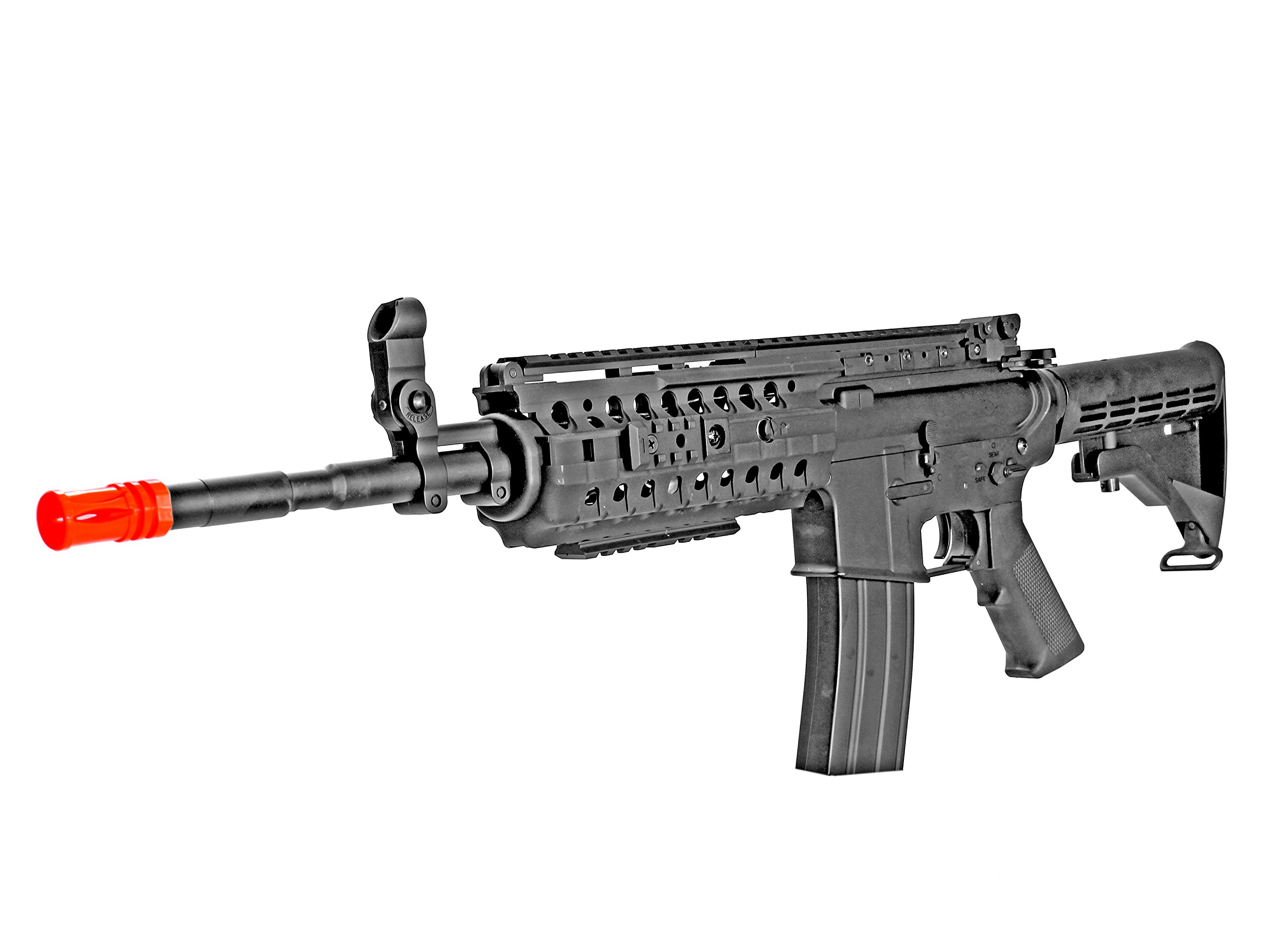 MetalTac CYMA CM016 Electric Airsoft Gun with Metal Gearbox Version 2, Tactical Rail System, Full Auto AEG, Powerful Spring 415 Fps with .20g BBs