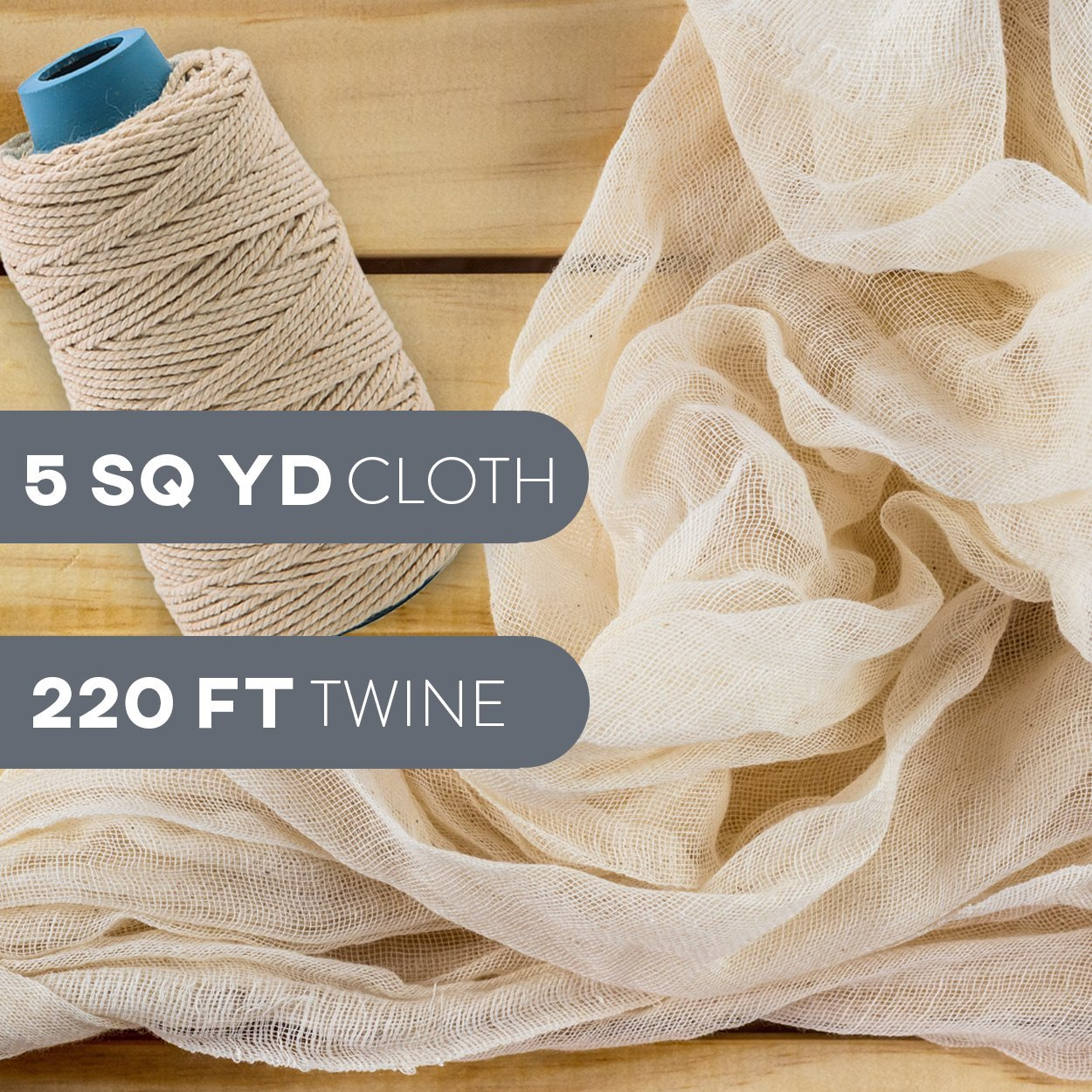 Cheesecloth and Cooking Twine - by Kitchen Gizmo, Grade 50 100% Unbleached Cotton (5 Yards/45 Sq. Feet) Cheese Cloth for Straining with 220 Ft Butchers Twine by Kitchen Gizmo (Image #2)