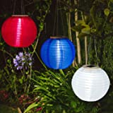 """3 Solar 10"""" Hanging Lanterns, Red, White & Blue, Waterproof, Auto Timer, Rechargeable Batteries Included"""