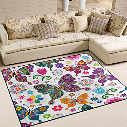 Floral Rugs For Living Room.Alaza Spring Floral Butterfly Area Rug Rugs For Living Room Bedroom 7 X 5