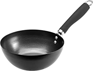 "Ecolution Non-Stick Carbon Steel Wok with Soft Touch Riveted Handle, 8"",Black"