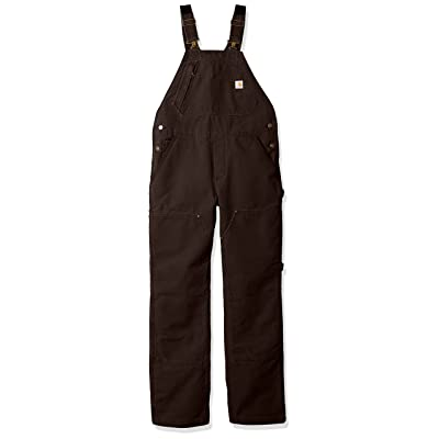 Carhartt Women's Weathered Duck Unlined Wildwood Bib Overalls, Dark Brown, M Standard: Ropa y accesorios