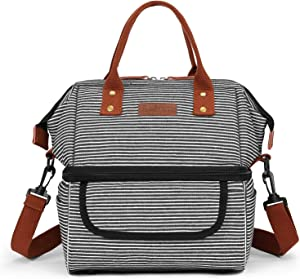 Lokass Double Deck Lunch Bags for Women, Lunch Box Wide Open Insulated Large Capacity Cooler Tote Bag With Removable Shoulder Strap Leakproof Lunch Organizer for Men/College/Work/Picnic(stripes)