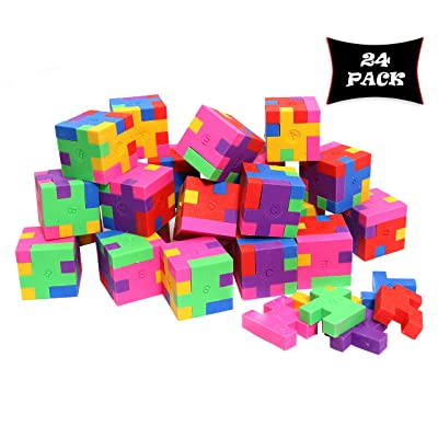 Smart Novelty Cube Puzzle Erasers for Kids School Supplies and Party Favors - Bulk Pack of 24 Colorful Mini Geometric Erasers: Toys & Games