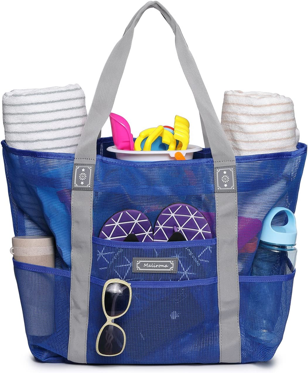Toy Tote Bag Large Grocery /& Picnic Tote with 8 Pockets Top Zipper Blue Malirona Mesh Beach Bag