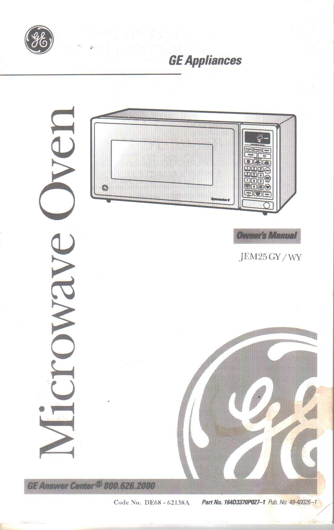 Owners Manual Guide for GE Microwave Model JEM25GY JEM25WY ... on