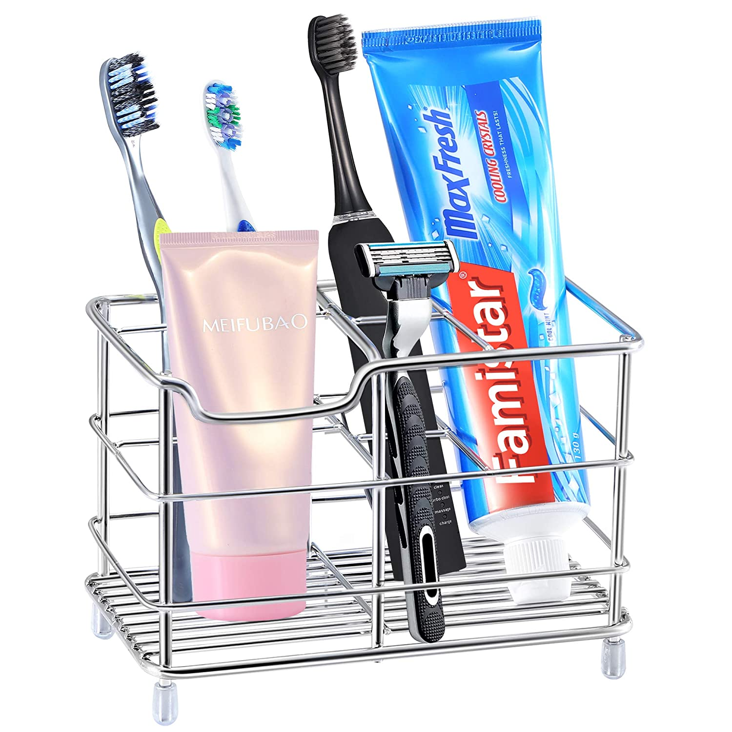 Toothbrush Holder, Stainless Steel Bathroom Storage Organizer Stand Rack - Multi-Functional 6 Slots for Electric Toothbrush, Toothpaste, Cleanser, Comb, Razor