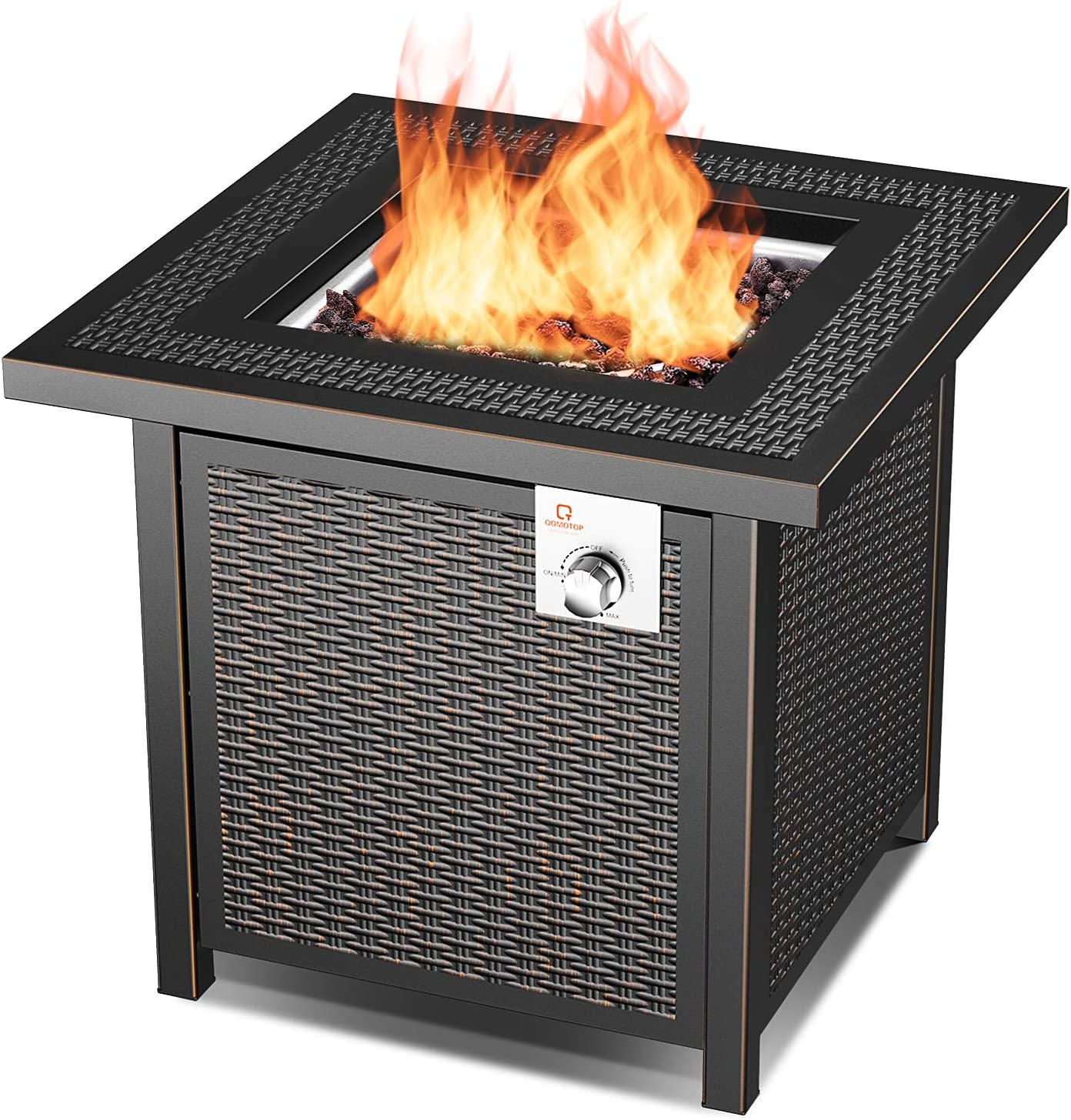 Amazon Com 28 Propane Fire Pit Table 50 000 Btu Ot Qomotop Auto Ignition Fire Pit Rattan Wicker Look Square Fire Table With Lid Csa Safety Certification Adjustable Flame Garden Outdoor