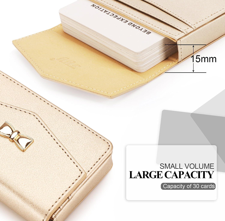 FYY Visitenkarten-Etui handgefertigt hochwertiges PU-Leder 1A-Rose Gold