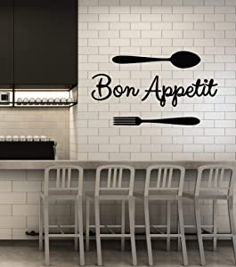 Vinyl Wall Decal Bon Appetit Words Fork Spoon Dining Room Kitchen Stickers Mural Large Decor (g1365) Black