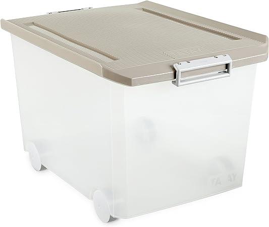 Tatay - Caja de Almacenaje Multiusos Bajo Cama con Tapa y Ruedas de 63 L de Capacidad. Plástico Polipropileno Libre de BPA. Forma Rectangular, Medidas 45 x 78 x 18 cm (L