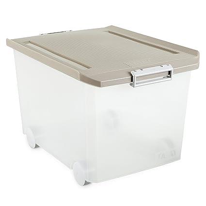 Tatay - Caja multiusos con ruedas, 60 L, Beige, 40 x 56.5 x