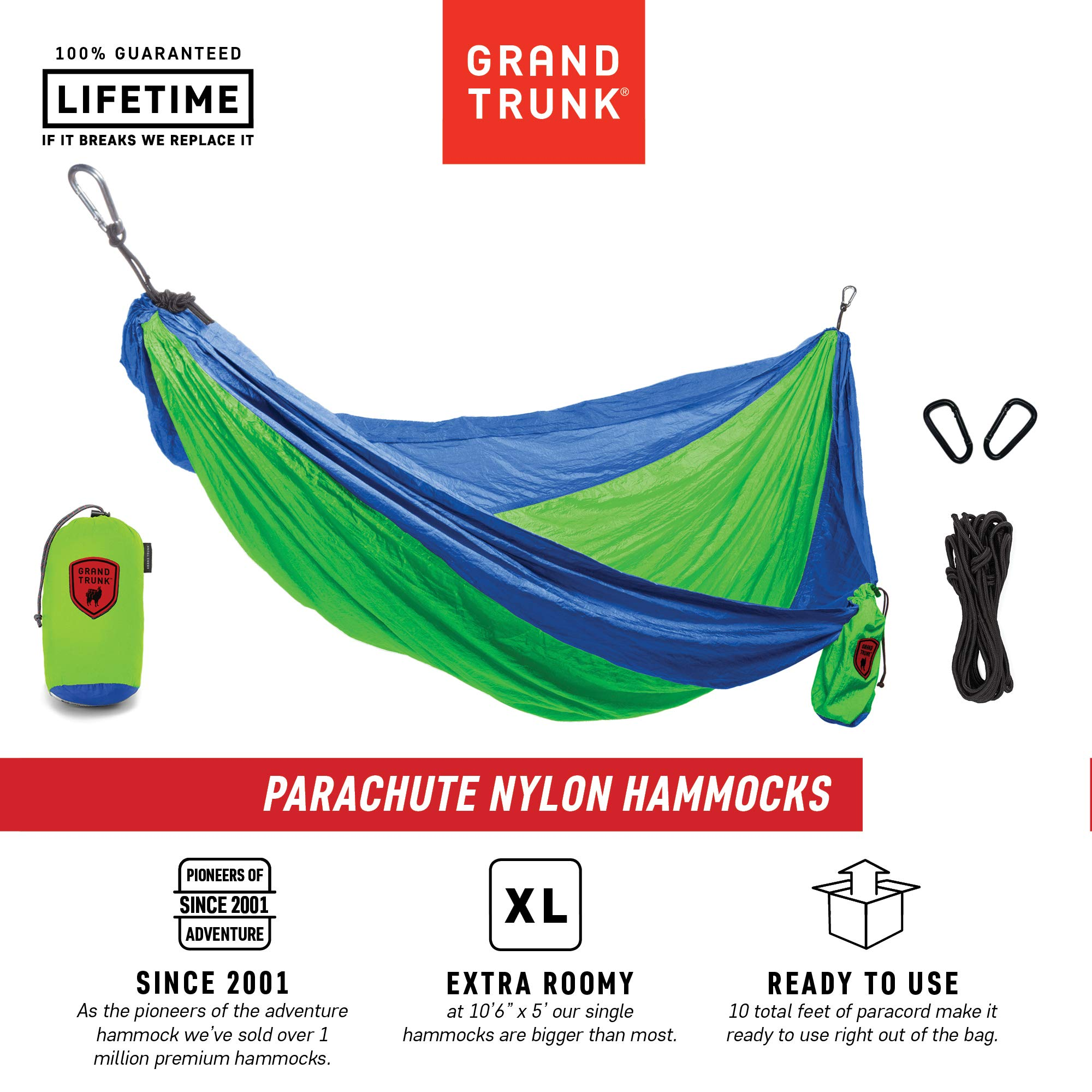 Grand Trunk Hammock- Camping Double with Tree Hanging Kit- Hammocks and Travel Gear Pioneers Since 2001 Parachute Nylon, Portable, Indoor Outdoor, Backpacking, Survival, Blue/Lime