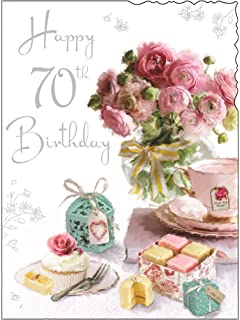 greeting card jj4061 female 70th birthday french fancies and pink flowers foil