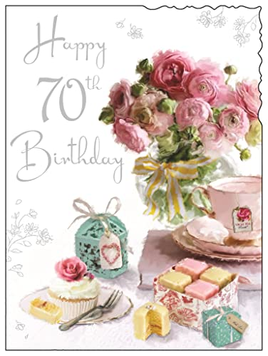 Sister in law 70th birthday card with removable laminate amazon greeting card jj4061 female 70th birthday french fancies and pink flowers foil bookmarktalkfo Image collections