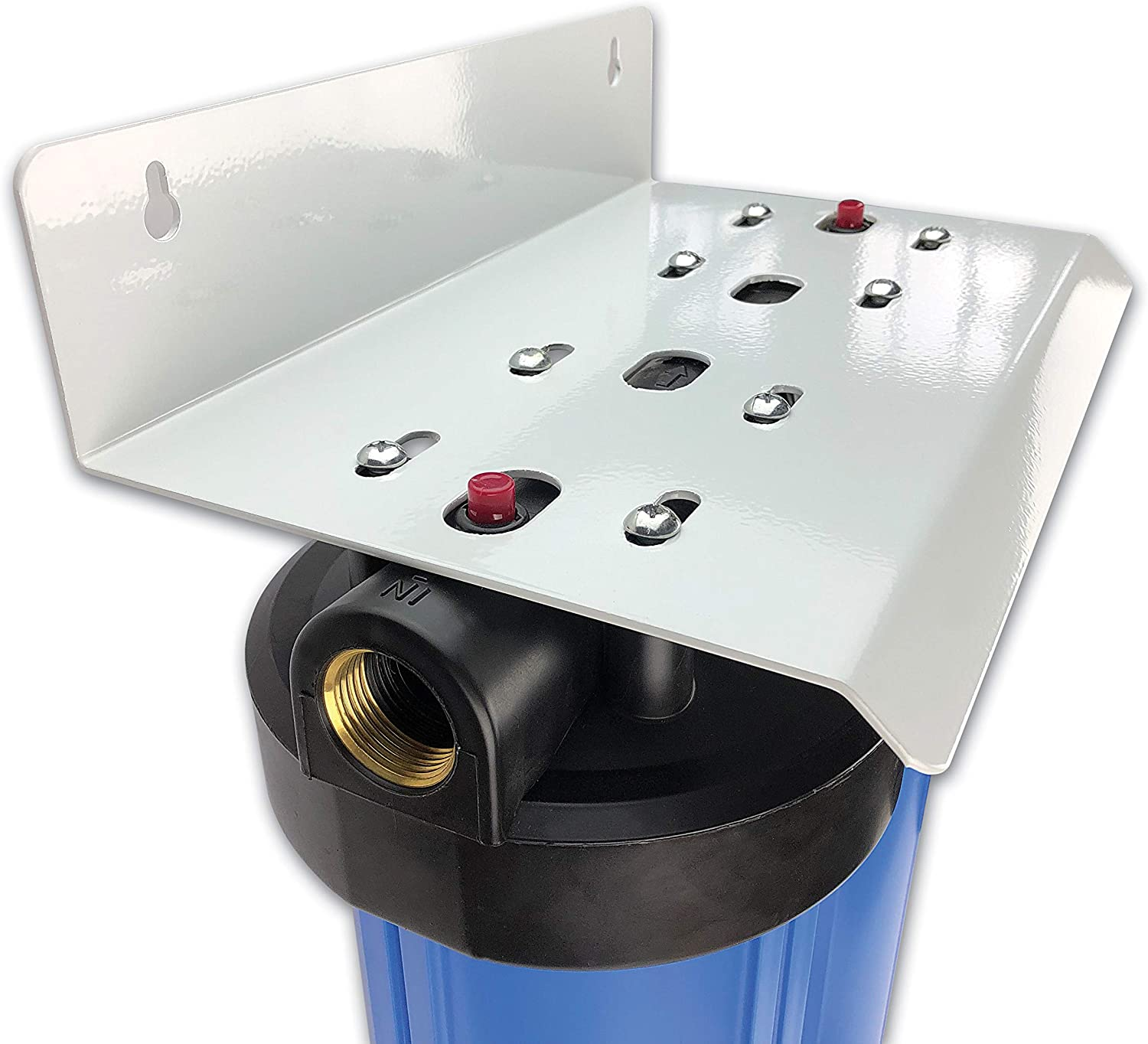 """Finerfilters 20/"""" Jumbo Double Housing with 1/"""" Brass Ports Bracket and Pressure Release Valve"""