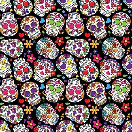 Leowefowa 8X8FT Day The Dead Sugar Skull Backdrop Cartoon Flowers Grunge Scary Abstract Wallpaper Vinyl Photography