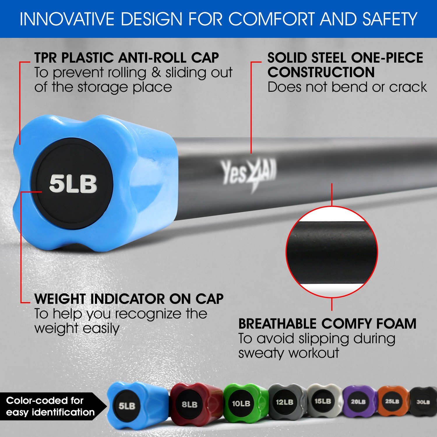 Yes4All Total Body Workout Weighted Bar / Weighted Workout Bar – Great for Physical Therapy, Aerobics and Yoga – Weighted Exercise Bar (5 lbs) by Yes4All (Image #4)