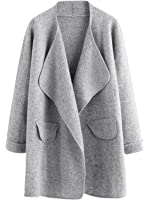 SheIn Women's Long Sleeve Cardigan Open Front Loose Sweater Coat