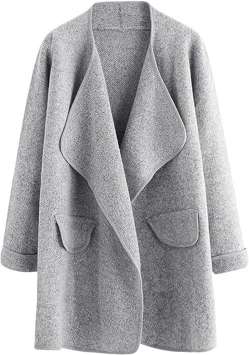 SHEIN de la mujer Cardigan de manga larga abierta frontal suelto suéter abrigo