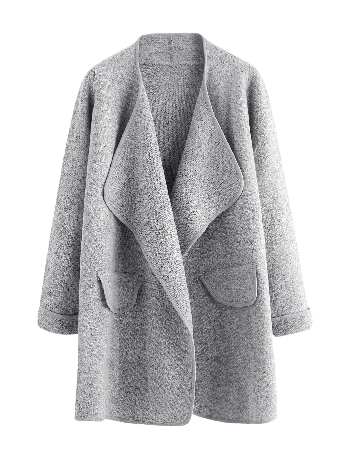 SheIn Women's Long Sleeve Cardigan Open Front Loose Sweater Coat One-Size Grey