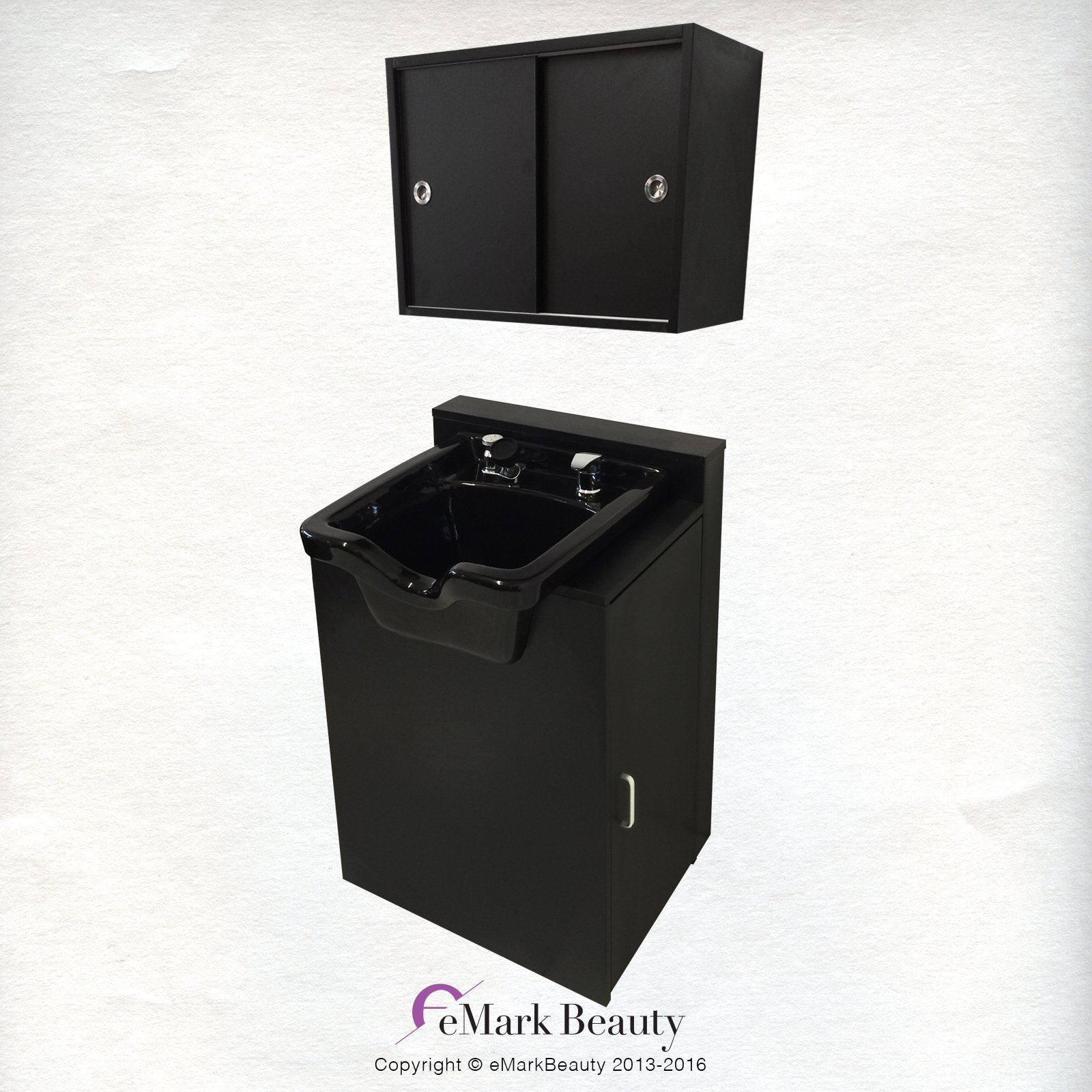 Square ABS Plastic Shampoo Bowl Floor & Towel Cabinet Package by eMark Beauty