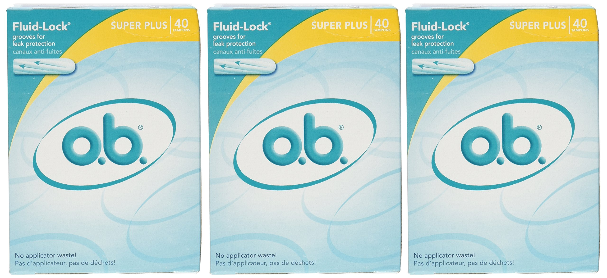 o.b. Super Plus Absorbency Tampons 40-Count Boxes (Pack of 3)